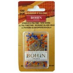 Epingles de couture tete de verre ultra fines BOHIN (x100)