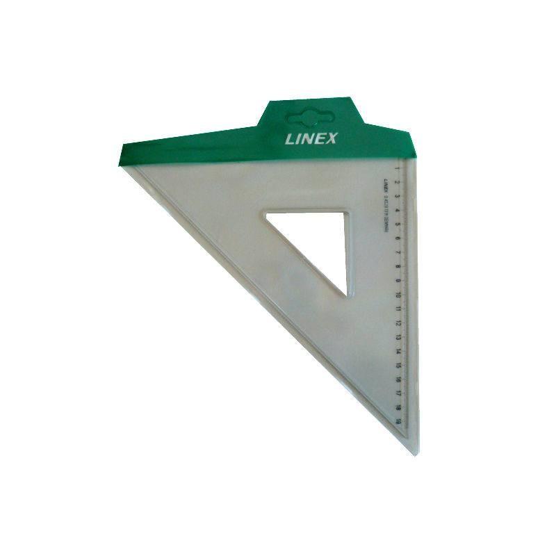 Equerre transparente 20cm 45° bords anti-tâches