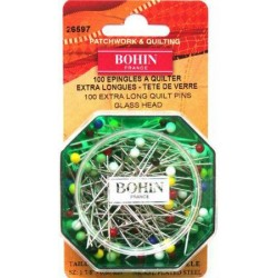 Epingles à quilter tête de verre (48mm x 0.80mm) BOHIN