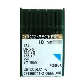 Aiguilles industrielles Groz-Beckert 134 FG GEBEDUR tous diamètres  (  X10 aiguilles )