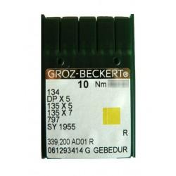 Aiguilles pour machine a coudre industrielle Groz-Beckert 134 R GEBEDUR (X10 aiguilles)